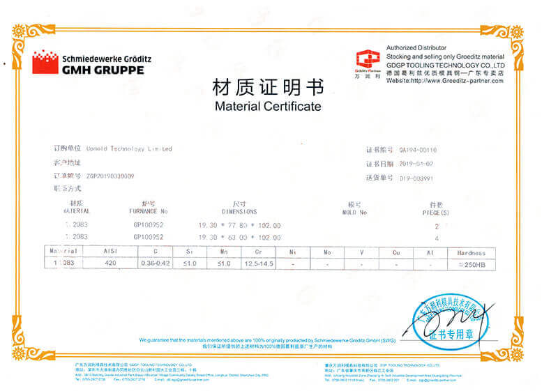 Groditz material certifications