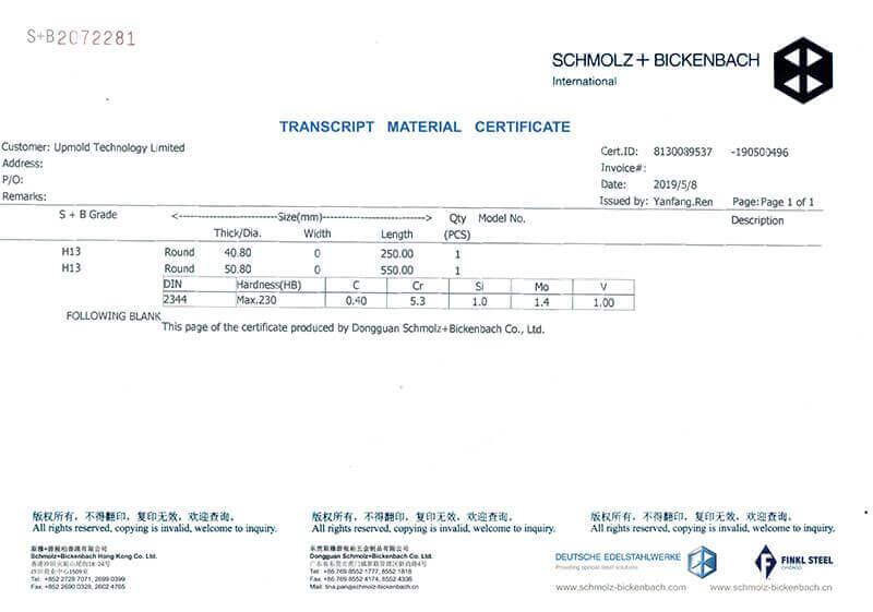 SCHMOLZ BICKENBACH transcript material certificates